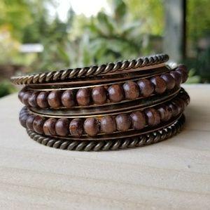 Wood bead bracelet set